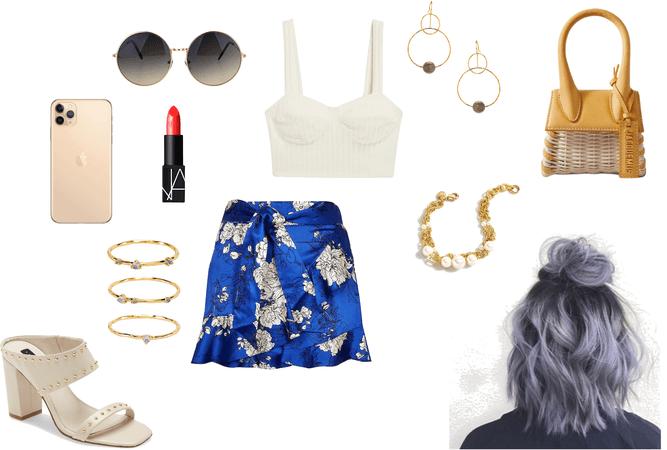 Flowers blue mini skirt