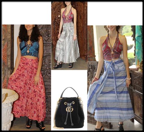 Floral Rayon Wrap Skirt