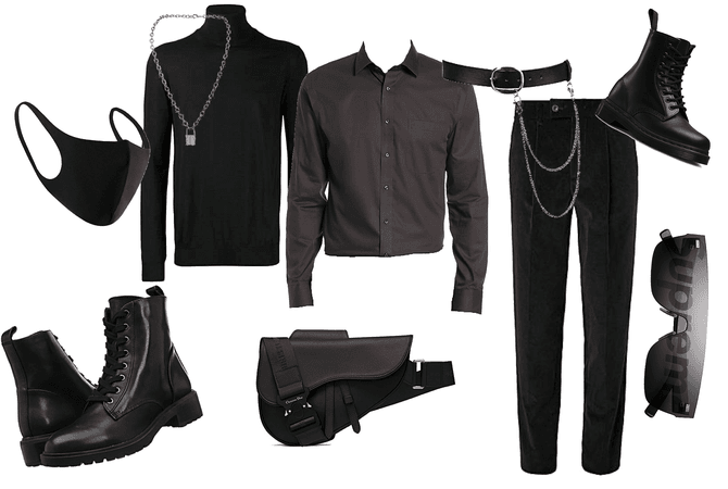 Total black daily men's outfit