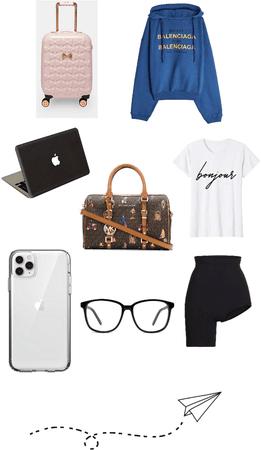 Paris fashion week plane outfit