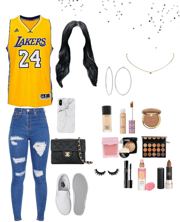 lakers game also her makeup routine