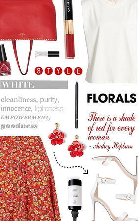 white t shirt and red florals