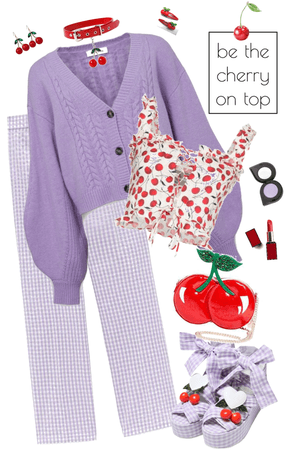 Lilac Gingham and Cherries