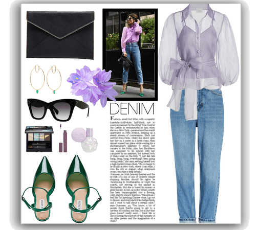 jeans and purple organza blouse outfit