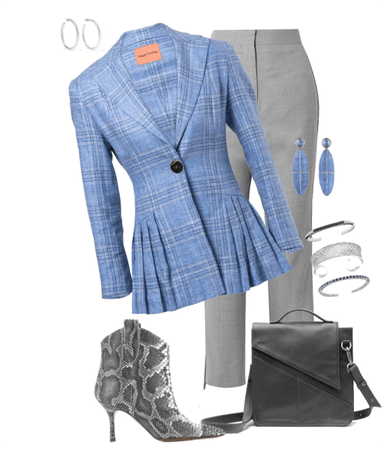 blue plaid with gray