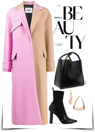 classic coat with classic bag and heels