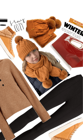 Rusty Orange Winter Hat and Scarf