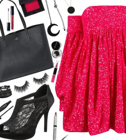 pink dress + black heels