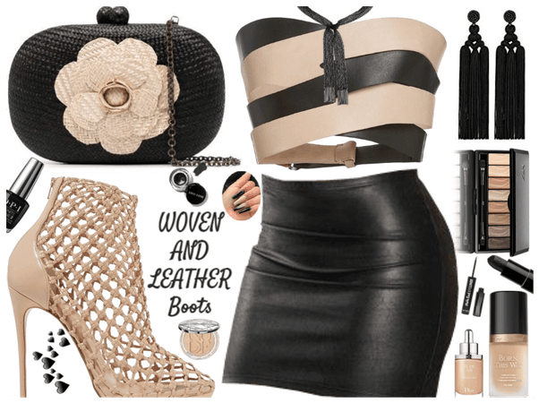 Summer woven & Leather Boots