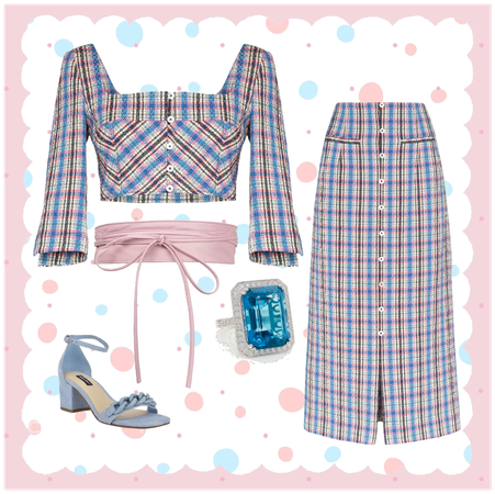 Black Blue and pink plaid top and skirt set outfit