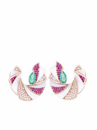 Ananya 18kt white gold Miniature Mogra C-Clips multi-stone earrings - FARFETCH