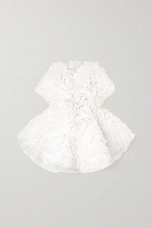 Ruffled Tulle Mini Dress - White