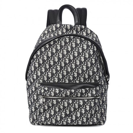 CHRISTIAN DIOR HOMME Oblique Grained Calfskin Backpack Blue 548719