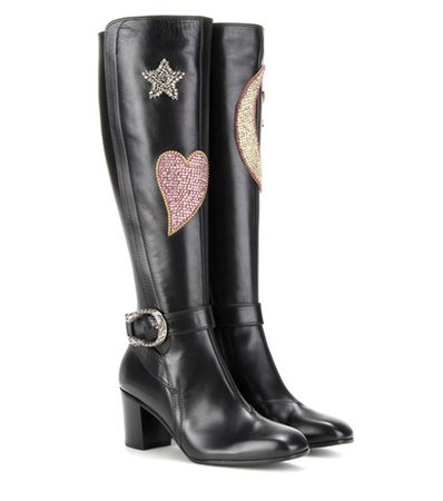 Crystal-embellished knee-high leather boots