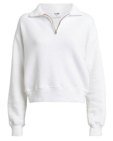 RE/DONE | 70s Half-Zip Cotton Sweatshirt | INTERMIX®
