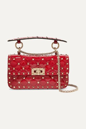 Red Valentino Garavani The Rockstud Spike small quilted patent-leather shoulder bag | Valentino | NET-A-PORTER