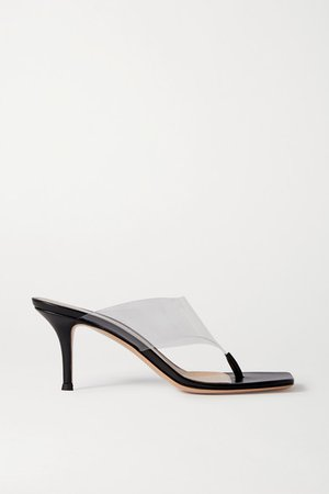 70 Leather And Pvc Sandals - Black