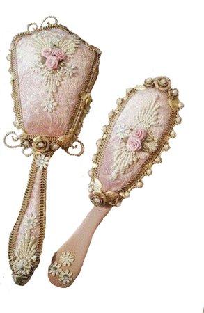 pink vintage hairbrushes