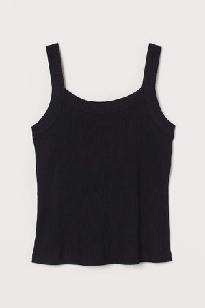 Ribbed Cotton Tank Top - Black