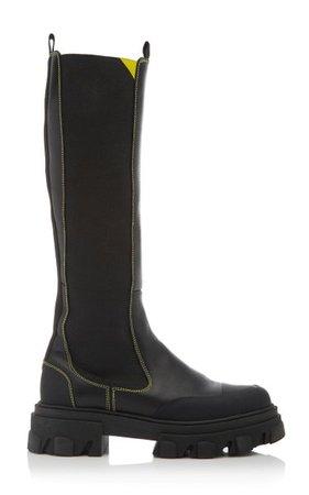 Lug-Sole Leather Knee-High Boots By Ganni   Moda Operandi