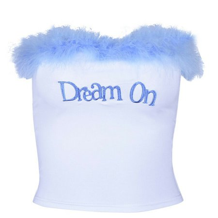 Sexy Women Strapless Blue Feather Sequined Letter Print Crop Top Vest Bra