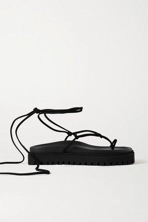 Suede Platform Sandals - Black