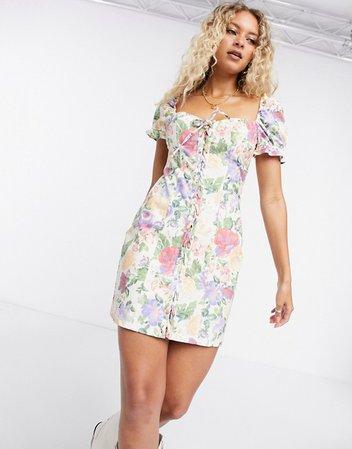 Bershka puff sleeve floral dress in multi | ASOS