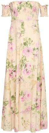 Off-the-shoulder Floral-print Linen And Cotton-blend Maxi Dress
