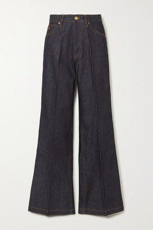 High-rise Wide-leg Jeans - Dark denim