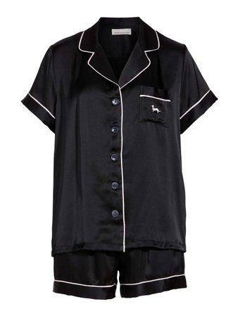 Black Silk Shortie Pj Set Black - Peter Alexander Online