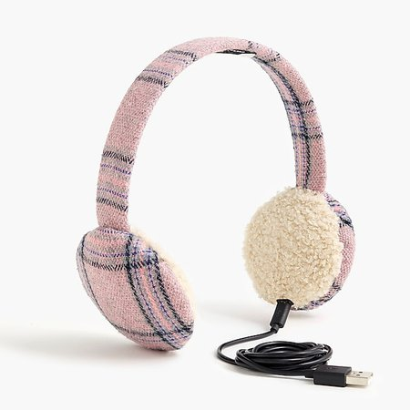 Bluetooth earmuffs in pink plaid - Women's Accessories   J.Crew