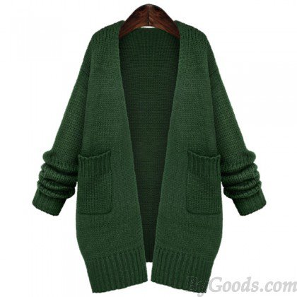 Fresh Green Loose Knitted Cardigan Sweater Coat | Coats & Jackets | Clothing & Apparel- ByGoods.Com