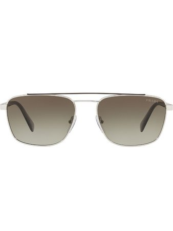 Prada Eyewear vintage aviator sunglasses brown PR61USY7B5O2 - Farfetch
