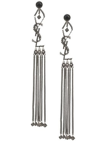 Saint Laurent Monogram Textured Tassel Earrings - Farfetch