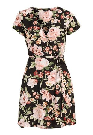 BUBBLEROOM Nadine wrap dress Black / Floral - Bubbleroom
