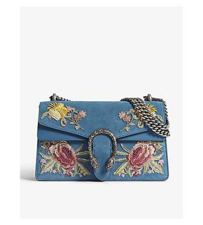 GUCCI - Gucci Dionysus small suede floral applique shoulder bag | Selfridges.com