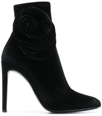 rose detail stiletto booties