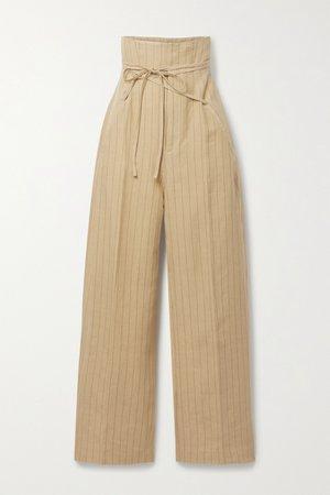Yellow Novio belted pinstriped linen wide-leg pants   Jacquemus   NET-A-PORTER