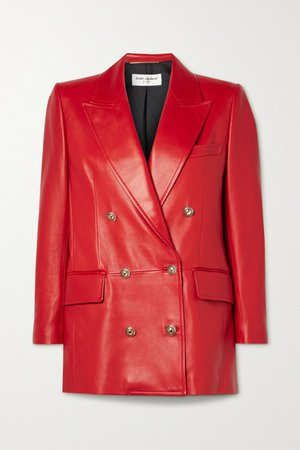 Double-breasted Leather Blazer - Red