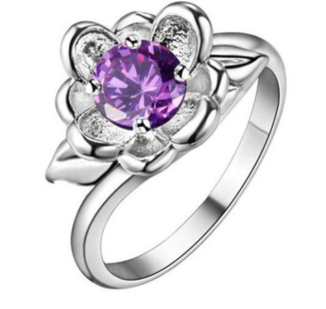 NEW flower Women Purple Gemstone Crystal Silver Wedding Ring Jewelry Size 7 | eBay