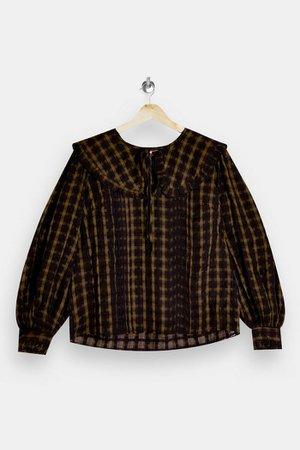 Khaki Check Collar Blouse | Topshop