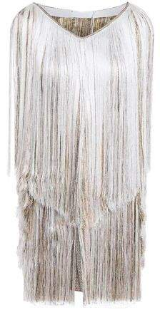 Fringed Metallic Crochet-knit Halterneck Mini Dress