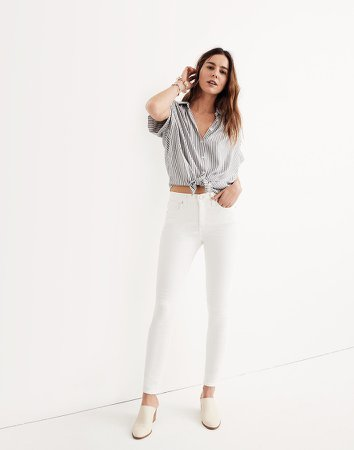 """9"""" Mid-Rise Skinny Jeans in Pure White"""