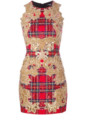 Red & gold Balmain sequin-embellished plaid cocktail dress - Farfetch