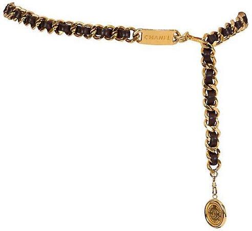 One Kings Lane Vintage Chanel Brown & Gold Belt/Necklace