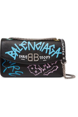 BALENCIAGA Printed textured-leather shoulder bag