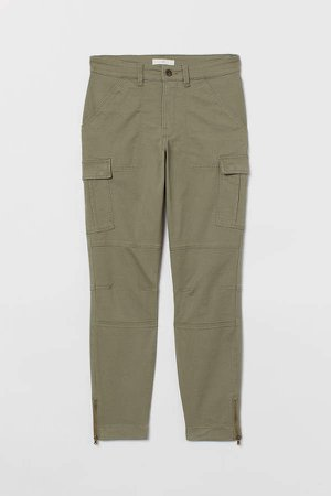 Ankle-length Cargo Pants - Green