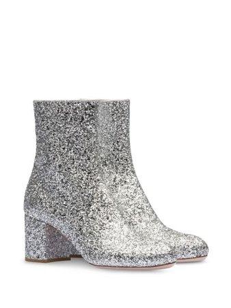 Miu Miu Glitter Embellished Ankle Boots 5T765CFD0653A5U Silver | Farfetch