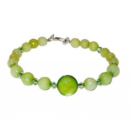 Light Apple Peridot Olive Green Beaded Bracelet