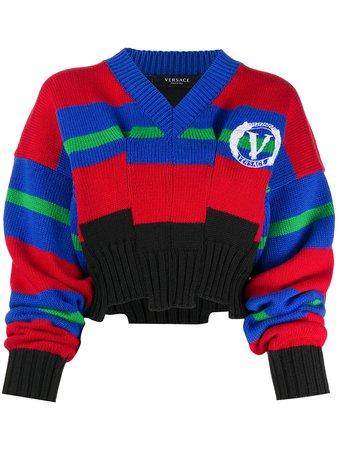 Versace Striped intarsia-knit Jumper - Farfetch